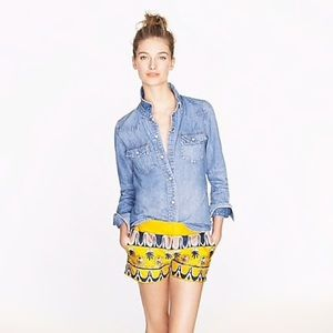 J CREW Scroll Print Patterned Shorts